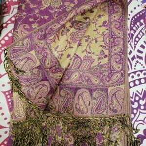 pashmina Accessories - Fuschia & Metallic Gold Pashmina Scarf